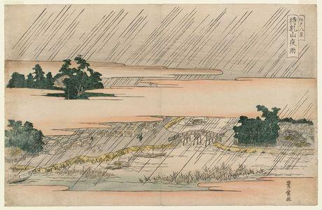 Utagawa Toyohiro: Night Rain at Matsuchiyama (Matsuchiyama yau), from the series Eight Views of Edo (Edo hakkei) - Museum of Fine Arts