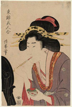 二代目鳥居清満: Woman Painting Her Lips, from the series Comparison of Beauties in Eastern Brocade (Azuma nishiki bijin awase) - ボストン美術館