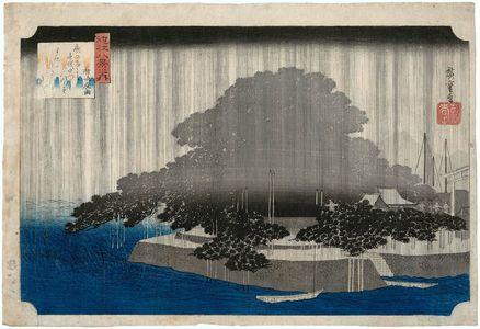 歌川広重: Night Rain at Karasaki (Karasaki yau), from the series Eight Views of Ômi (Ômi hakkei no uchi) - ボストン美術館
