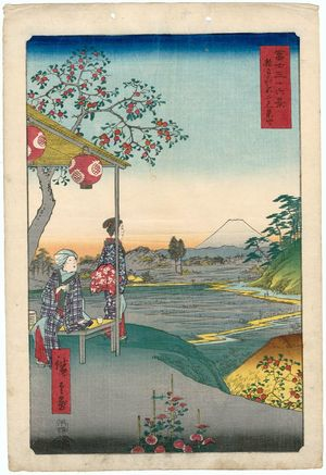 Utagawa Hiroshige: Fuji-view Teahouse at Zôshigaya (Zôshigaya Fujimi chaya), from the series Thirty-six Views of Mount Fuji (Fuji sanjûrokkei) - Museum of Fine Arts