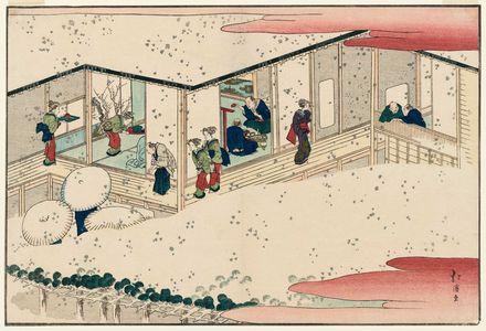 魚屋北渓: Winter Scene at a Teahouse, from the album Santo no tomoe (Friends of the Three Capitals) - ボストン美術館