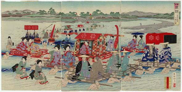 Kojima Shôgetsu: Travel during the Rule of the Shoguns: Crossing a River (Bakufu dôchû kawagoe no zu), from the series Eastern Brocades: a Look at the Old Days (Kanko Azuma nishishi) - ボストン美術館
