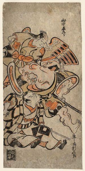 Torii Kiyonobu I: Actors Yamanaka Heikurô, Ikushima Shingorô, and Nakamura Gentarô - Museum of Fine Arts