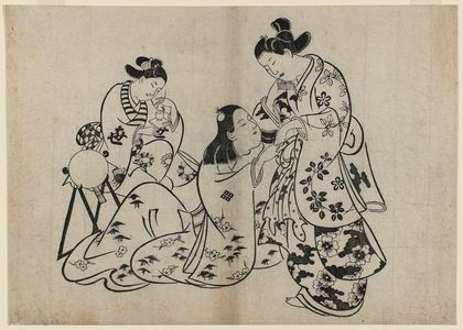 Torii Kiyonobu I: Man, Woman, Girl - Museum of Fine Arts