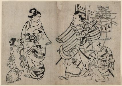 Torii Kiyonobu I: Young Samurai Flirting With An Oiran - Museum of Fine Arts