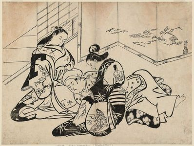 Torii Kiyonobu I: Courtesans and Client - Museum of Fine Arts