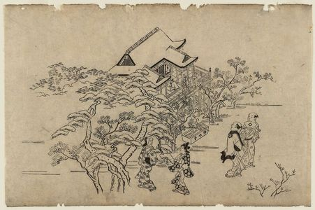 菱川師宣: Viewing Cherry Blossoms in Ueno (Ueno hanami no tei), Sheet 4 - ボストン美術館