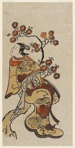 Torii Kiyonobu I: Courtesan Seated on a Flowering Cherry Tree - Museum of Fine Arts