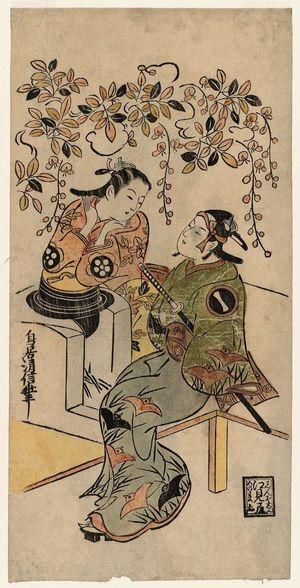 Torii Kiyonobu I: Actors Ichikawa Monnosuke I as Karigane Bunshichi, and Dekijima Daisuke - Museum of Fine Arts