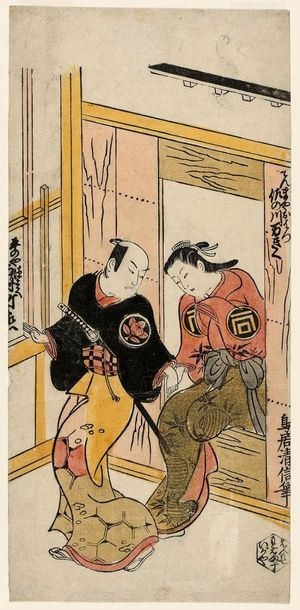 鳥居清信: Actors Ichimura Takenojô as Hiranoya Tokubei and Sanogawa Mangiku as Tenmaya Ohatsu - ボストン美術館