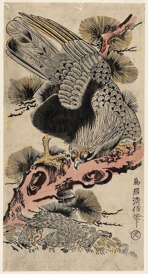 Torii Kiyonobu II: Eagle and Monkey - Museum of Fine Arts