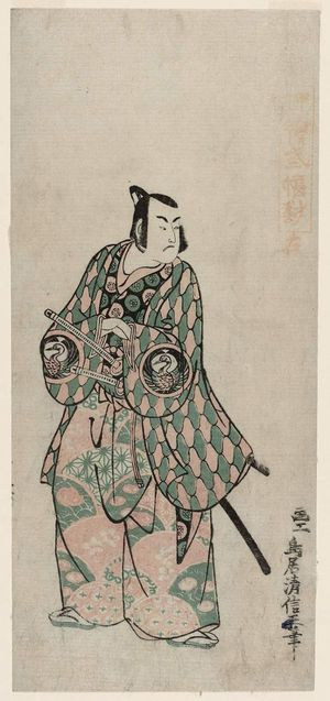 Torii Kiyonobu II: Actor Bando Hikosaburô, right sheet of a triptych - Museum of Fine Arts