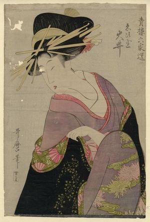 Kitagawa Utamaro: Ôi of the Ebiya, from the series Selections from Six Houses of the Yoshiwara (Seirô rokkasen) - Museum of Fine Arts