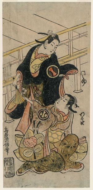 Torii Kiyomasu II: Actors Ichikawa Monnosuke I and Arashi Wakano I - Museum of Fine Arts