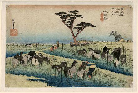Utagawa Hiroshige: Chiryû: Early Summer Horse Fair (Chiryû, shuka uma ichi), first (?) state, from the series Fifty-three Stations of the Tôkaidô (Tôkaidô gojûsan tsugi no uchi), also known as the First Tôkaidô or Great Tôkaidô - Museum of Fine Arts