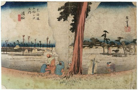 Utagawa Hiroshige: Hamamatsu: Winter Scene (Hamamatsu, fuyugare no zu), from the series Fifty-three Stations of the Tôkaidô (Tôkaidô gojûsan tsugi no uchi), also known as the First Tôkaidô or Great Tôkaidô - Museum of Fine Arts