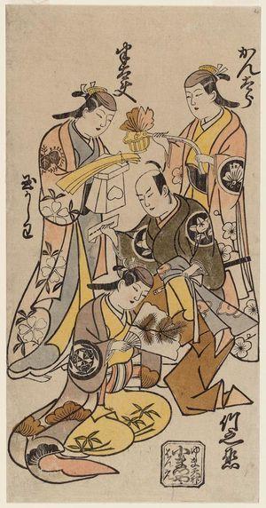 鳥居清忠: Actors, clockwise from upper right: Sanjô Kantarô, Ichimura Takenojô, Ichimura Tamakashiwa, Fujimura Handayû - ボストン美術館