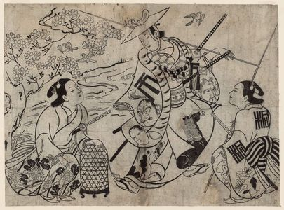 Okumura Masanobu: The Bird Catchers, Actors in a Shosa - Museum of Fine Arts