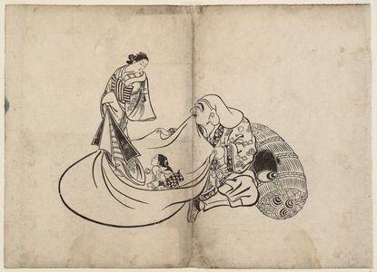 Okumura Masanobu: Daikoku Revealing the Contents of Hotei's Bag of Precious Things - Museum of Fine Arts