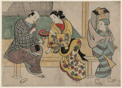 Okumura Masanobu: Oiran and Lover and a Book Peddler - Museum of Fine Arts
