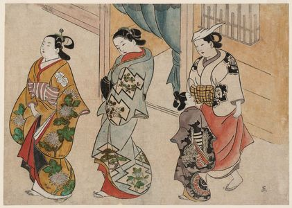奥村政信: Street Scene in the Yoshiwara - ボストン美術館