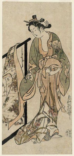 奥村政信: Woman Standing by a Kimono Rack - ボストン美術館