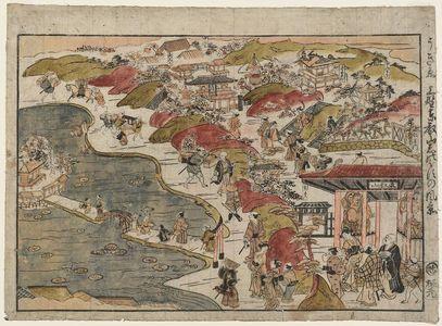 Nishimura Shigenaga: Perspective View of Ueno, Tôeizan, and Shinobazu (Uki-e Ueno Tôeizan Shinobazu no fûkei) - Museum of Fine Arts