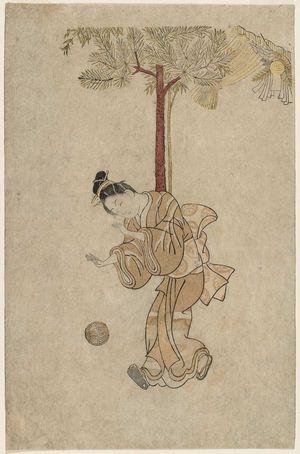 Ishikawa Toyonobu: Girl Bouncing a Ball on New Years Day - Museum of Fine Arts