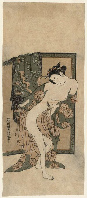 Ishikawa Toyonobu: Woman Dressing after Bath - Museum of Fine Arts