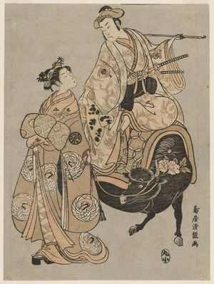 鳥居清経: Actors Onoe Kikugorô as Kudô Suketsune and Segawa Kikunojô II as the Courtesan Maizuru - ボストン美術館