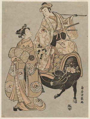 Torii Kiyotsune: Actors Onoe Kikugorô as Kudô Suketsune and Segawa Kikunojô II as the Courtesan Maizuru - Museum of Fine Arts
