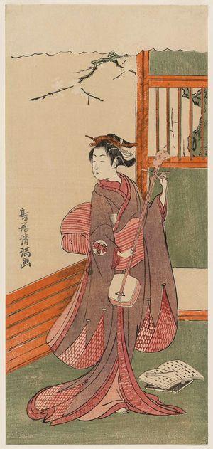 鳥居清満: Actor as a Woman Tuning a Shamisen - ボストン美術館