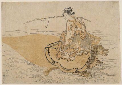 鈴木春信: Young Woman Riding a Turtle (Parody of the Story of Urashima Tarô), first state - ボストン美術館