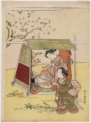 鈴木春信: Woman in a Palanquin Resting under a Cherry Tree - ボストン美術館