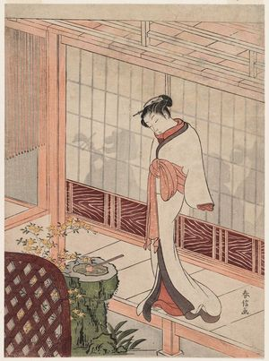 鈴木春信: Parody of the Muken no Kane Scene in the Play Hiragana Seisuiki: Woman Standing on a Veranda outside a Room with a Party - ボストン美術館