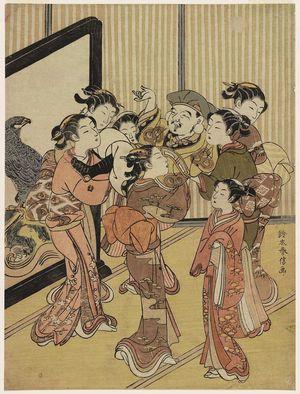鈴木春信: Women Tossing Daikoku in the Air at New Year - ボストン美術館