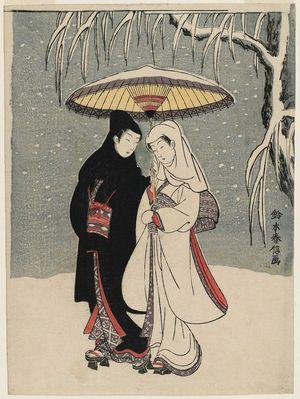 Suzuki Harunobu: Lovers under an Umbrella in the Snow - Museum of Fine Arts