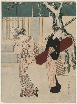 Suzuki Harunobu: Geisha and Assistant in Front of the Matsumotoya - Museum of Fine Arts