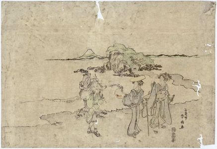 Katsukawa Shunko: Travellers at Enoshima - Museum of Fine Arts