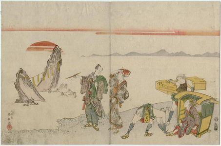 勝川春好: Travellers at Futami-ga-ura - ボストン美術館