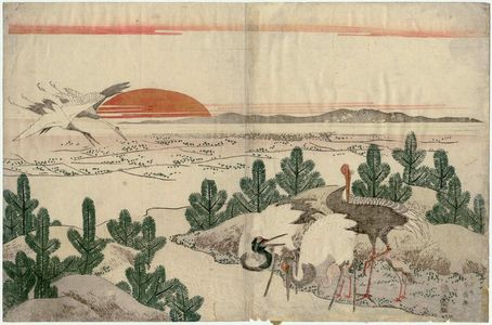 Katsukawa Shunko: Cranes, Pine Shoots, and Rising Sun - Museum of Fine Arts