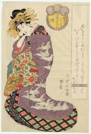 Kitagawa Shikimaro: Tachibana of the Tsuruya, kamuro Ukon and Sakon, from the series Female Poetic Immortals in the Modern Style, a Set of Thirty-six (Imayô onna kasen, sanjûrokuban tsuzuki) - ボストン美術館