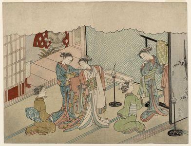 Suzuki Harunobu: The Bride Changing Clothes (Iro-naoshi), sheet 5 of the series Marriage in Brocade Prints, the Carriage of the Virtuous Woman (Konrei nishiki misao-guruma), known as the Marriage series - Museum of Fine Arts