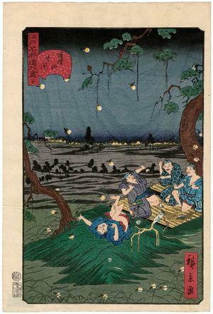 歌川広景: No. 20, Listening to Crickets at Dôkan Hill (Dôkan-yama mushi-kiki), from the series Comical Views of Famous Places in Edo (Edo meisho dôke zukushi) - ボストン美術館