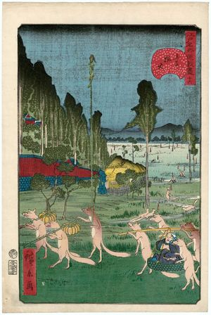 Utagawa Hirokage: No. 16, Fox-fires at Ôji (Ôji kitsunebi), from the series Comical Views of Famous Places in Edo (Edo meisho dôke zukushi) - Museum of Fine Arts