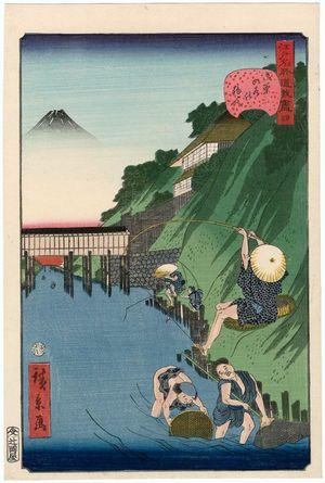 歌川広景: No. 4, Fishermen at Ochanomizu (Ochanomizu no tsuribito), from the series Comical Views of Famous Places in Edo (Edo meisho dôke zukushi) - ボストン美術館