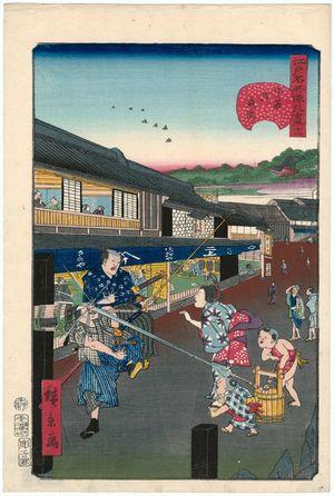歌川広景: No. 11, Shogun's Road at Shitaya (Shitaya Onarimichi), from the series Comical Views of Famous Places in Edo (Edo meisho dôke zukushi) - ボストン美術館