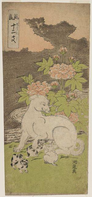 磯田湖龍齋: Dog, from the series Fashionable Twelve Signs of the Zodiac (Fûryû jûnishi) - ボストン美術館