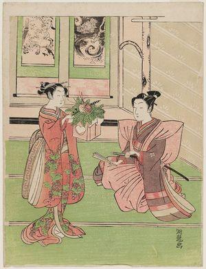 磯田湖龍齋: Young Couple with New Year Decorations - ボストン美術館