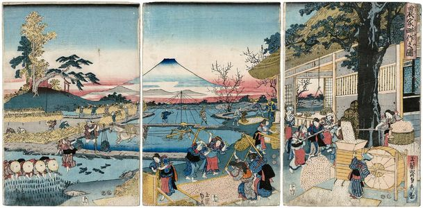 Utagawa Sadahide: Farmers at Work (Nôka kôsaku no zu) - Museum of Fine Arts
